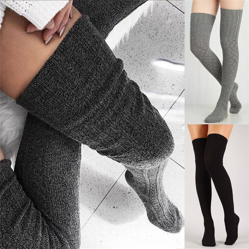 Tenrry Women Solid Color Knitted Stockings Female Leg Warmer Stockings Long Knee Socks