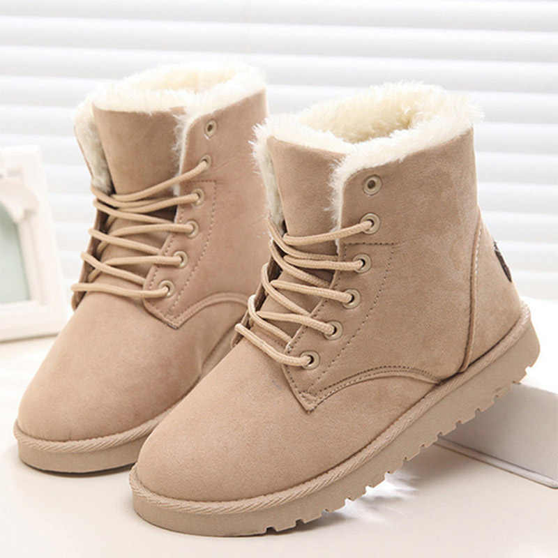 f550f4be8c428 Women Snow Boots Winter Warm Shoes Ladies Flat Ankle Boots Lace Up Fur Plush  Suede Comfort