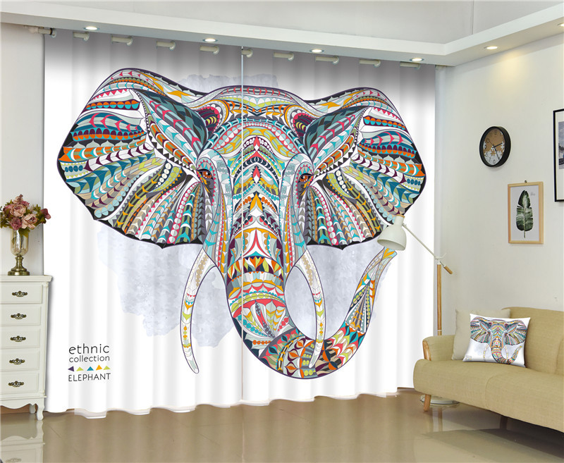 2017 Elephant Blackout Window Drapes Luxury 3D Curtains For Living room Bed room Office Hotel Home Wall Tapestry2017 Elephant Blackout Window Drapes Luxury 3D Curtains For Living room Bed room Office Hotel Home Wall Tapestry