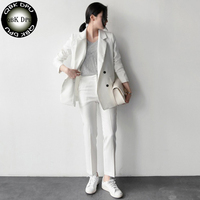 חדש שרוול ארוך פורמליות שחור לבן פסים חליפות עסקים עם מעילים ומכנסיים עבור משרד גבירותיי מכנסיים סטי עבודה נשית ללבוש