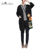 BelineRosa 2018 Plus Size Women Clothing Autumn Winter Terry Cotton Kawaii Cartoon Printing Black Long Trench Coats HS000593