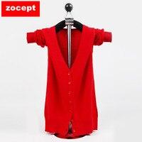 Zocept Cashmere Bend Sweater Women Autumn Winter Soft Wool Short Cardigans Female Knitted V Neck Full