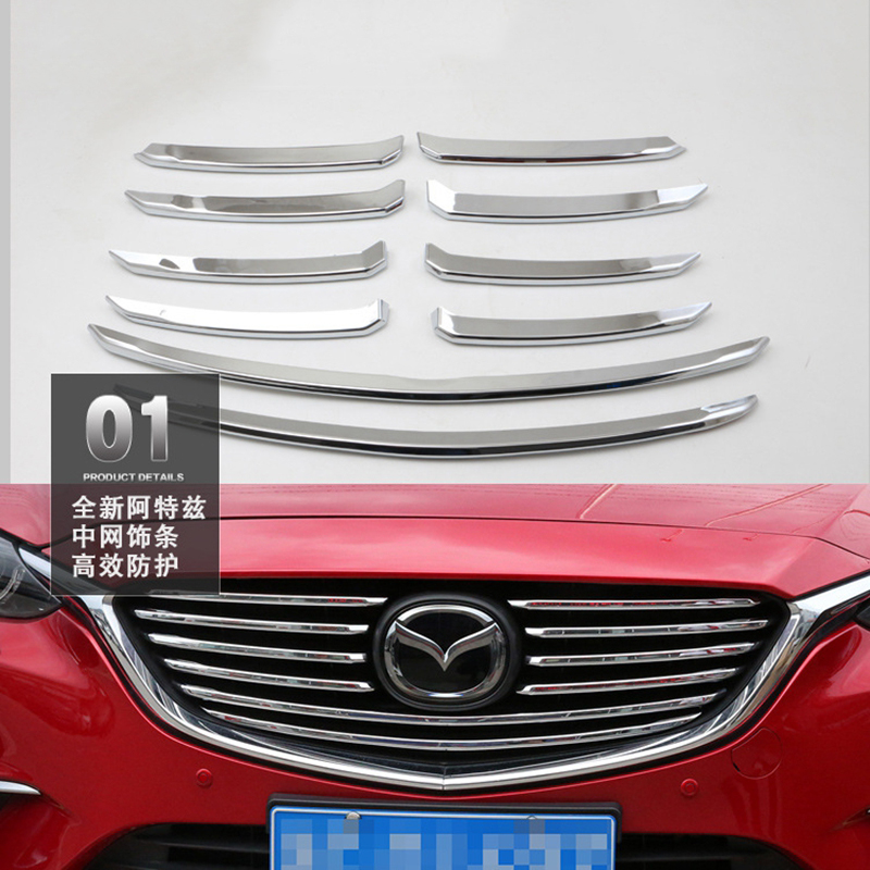 Car Styling For Mazda 6 M6 Atenza 2017 ABS Chrome Front Center Gille Cover Trim Racing Grills Strips Garnish Molding 10Pcs/set