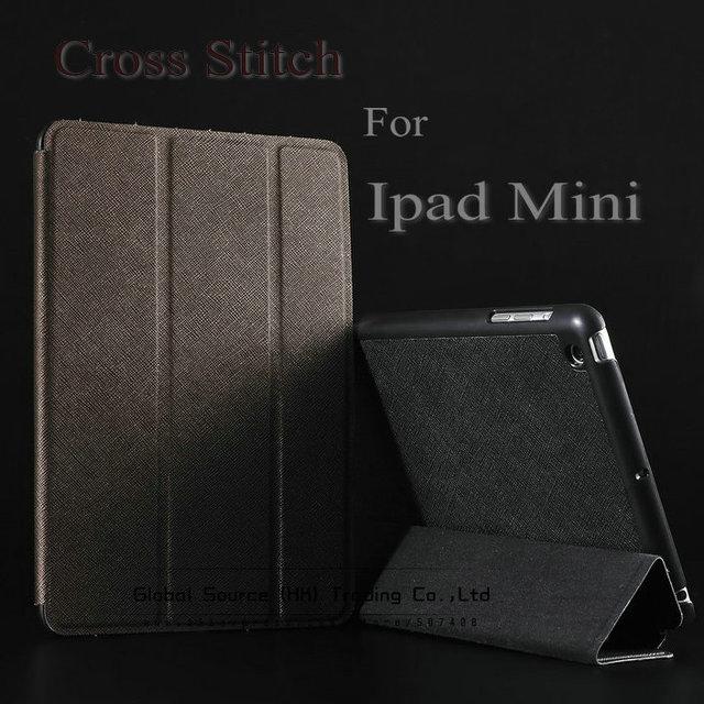 Hot !!! Cross stitch leather case for ipad mini luxury smart case for ipad mini Hard Shell Anti-skid Rubber Leather back cover