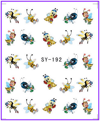 все цены на 1X  Nail Sticker Cartoon Bee Water Transfers Stickers Nail Decals Stickers Water Decal Opp Sleeve Packing SY192 онлайн