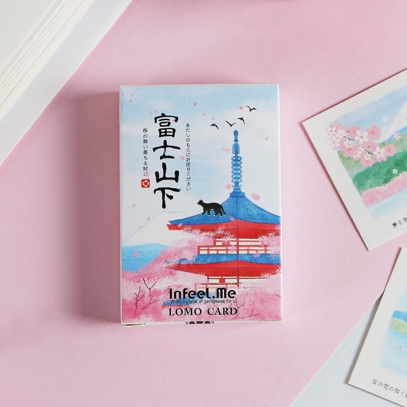 28 Sheets/Set Kawaii Mt Fuji LOMO Card Mini Postcard/Greeting Card/Wish Card/ Kids Gift Stationery