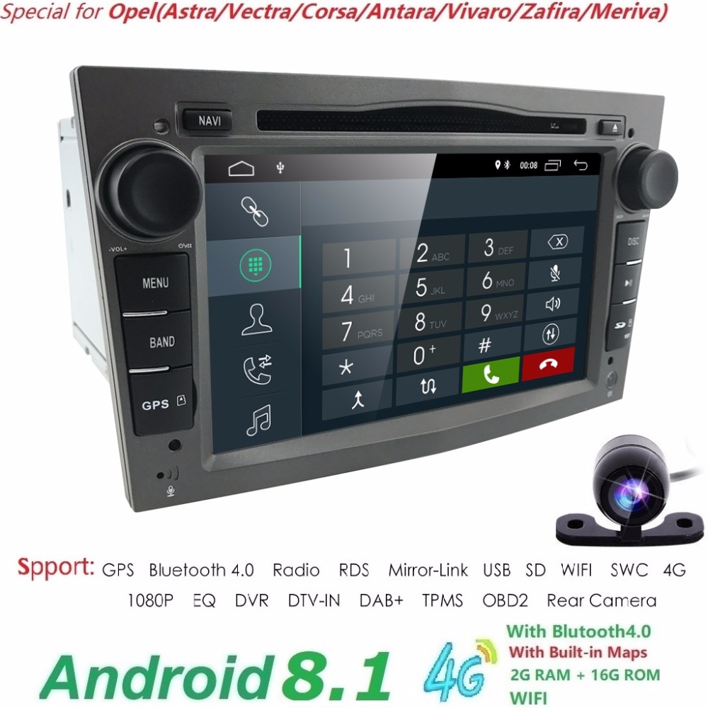 Android8.1 2DIN DVD GPS for Vauxhall Opel Astra H G J Vectra Antara Zafira Corsa Multimedia car stereo audio 4GWIFI MIRROR LINK 7inch autoradio 2din car dvd player for opel astra h vectra c zafira bcorsa c d g meriva vivaro gps nav 3g bt swc mirror link