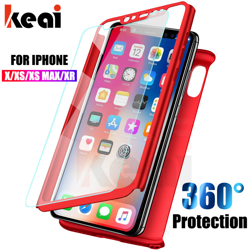 360 Degree Full Cover Phone Cases For iPhone X Case For iPhone XR Cover Shockproof Shell For