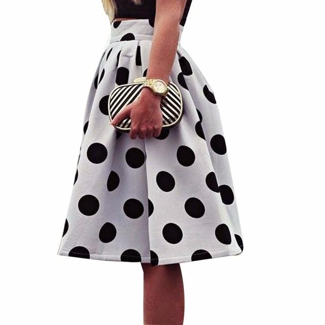 Mujeres de la manera Bodycon Polka Dot Falda Paraguas 2016 Retro Señora Puff Faldas Negro Big white Polka Dot tutú busto Falda