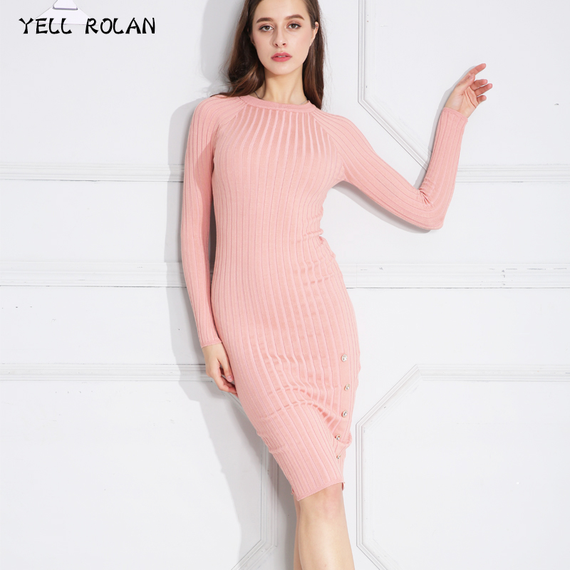 YELL ROLAN 2018 Spring Women Tight Sweater Dress Fashion Long Sleeve Midi Slim Fit Bodycon Dress Vintage Buttons Party Vestidos