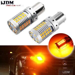 Image 1 - IJDM سيارة 1156 LED لا فرط فلاش العنبر الأصفر 3030 LED 7506 P21W BA15S LED مصابيح سيارات بدوره أضواء الإشارة ، Canbus خطأ مجاني