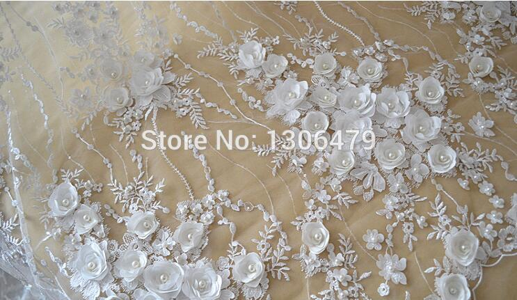 Image 4 - Ivory White Wedding Dress Lace Fabric, 3D Chiffon Flowers Nail 