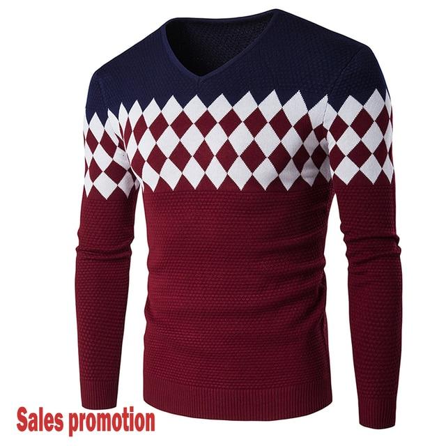 Men's sweaters Men Pullover Style Male Sweater Jumper V Neck Slim Fit Knitted Man Sweaters Knitwear Outwear Blusas Hot