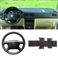 DIY Sewing on PU Leather Steering Wheel Cover Exact Fit For VolksWagen Passat B5 Golf 4 Skoda Octavia 1999 2005