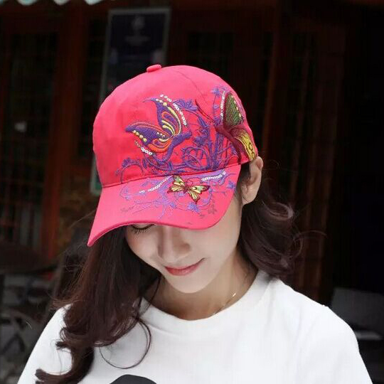 1 Pcs 2017New Fashion Butterfly Embroidery Baseball Cap Summer Style Women Snapback Hat 7 Colors