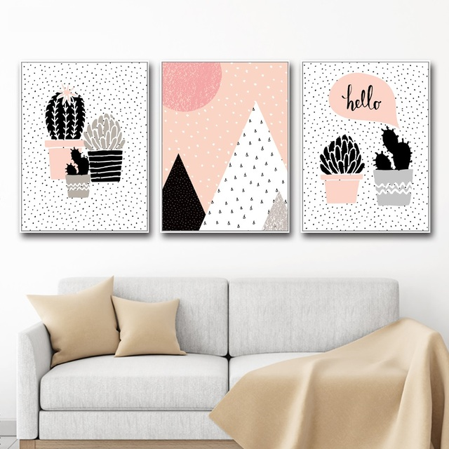 Aliexpress.com : Buy Nordic Canvas Painting Nordic Cactus Wall Art ...