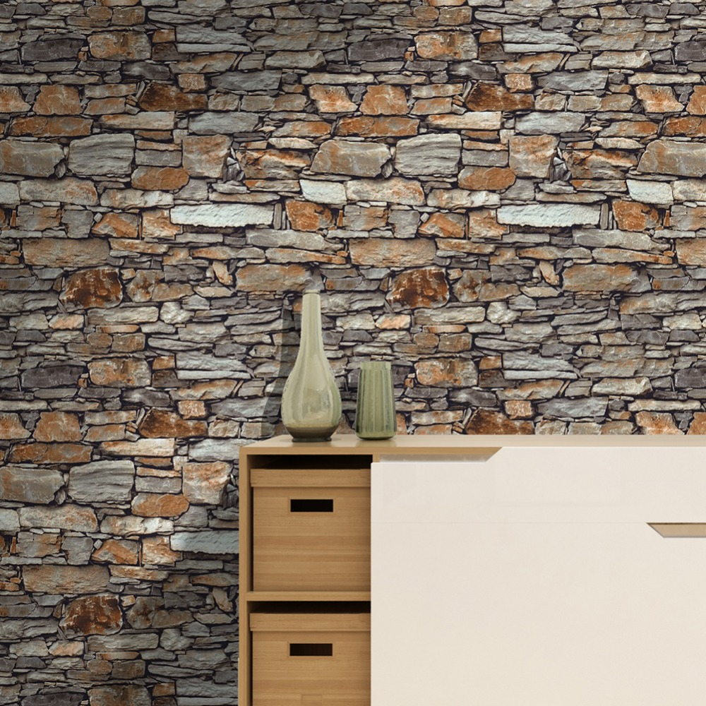 HaokHome stone 3D Wallpaper Roll Brown/Khaki Stone Textured For Living Room Bedroom Kitchen Home Wall Decoration haokhome european floral damask 3d wallpaper rolls brown champagne black white textured living room bedroom home art decoration
