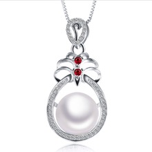 2016 New Ruby Pendant Necklace,Big Pearl Necklace for women,Mother's Day gift,925 sterling silver Pendant 3 colors