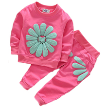 Spring Autumn 1-4Y Children Girl Baby boy Clothing Sets Sports wear Sunflower Toddler Clothes Suits Outfits Tracksuits free ship