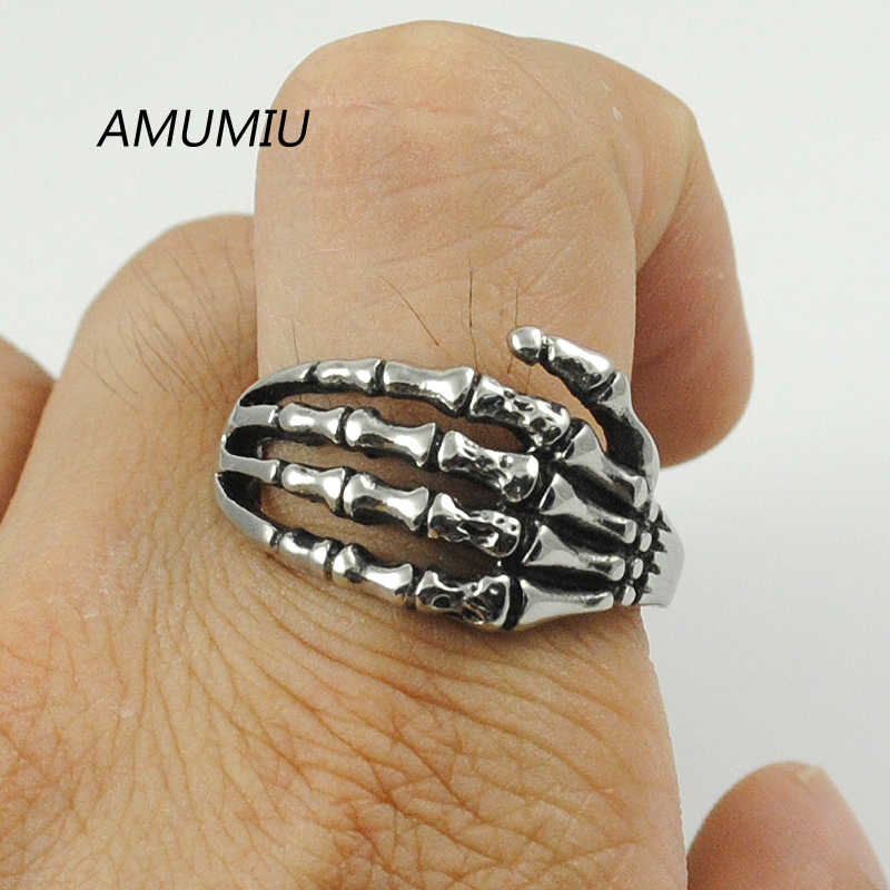 AMUMIU Wholesale Men Jewelry Punk Gothic Finger Claw Biker Rings Skull Hand Bone Couple Jewelry Accessories HZR039