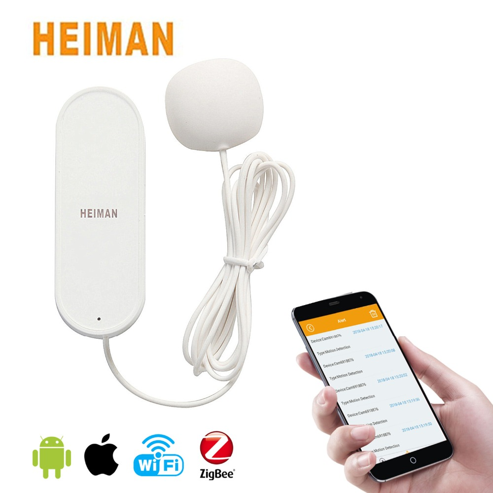 HEIMAN Low Power Consumption Smart Security Water leak Alarm Bathroom Laundry Water Leak Sensor Alert Detector with Battery free shipping smart security water level alarm water leak alarm bathroom laundry sink water leak sensor alert detector