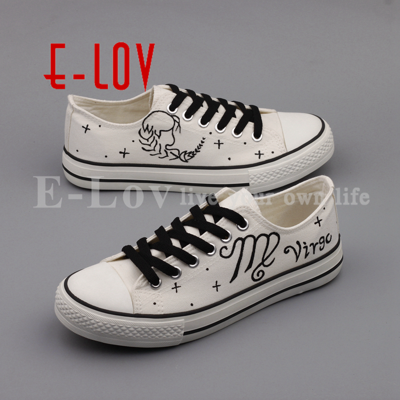 E-LOV Hand Drawing White Casual Walking Shoes Graffiti Virgo Canvas Shoes Customized Constellation Flat Shoe Plus Size e lov brand casual women girls canvas shoes graffiti printed low top flat shoes walking leisure shoe