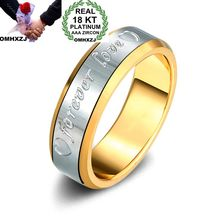 OMHXZJ Wholesale Personality Fashion Couple Party Wedding Gift White Gold FOREVER LOVE 18KT Yellow Ring RN12