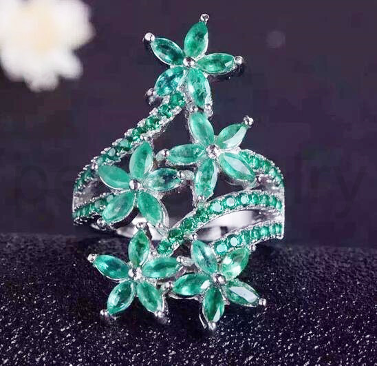 Emerald ring 925 sterling silver Natural real emerald Finger rings Flower ring 0.1ct*25pcs,0.05ct*25pcs gems #16121904