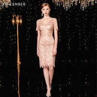 JANCEMBER коктельное платье courte Scalloped Gerade Kurzarm Knie-Länge Cut-Out Blumen cocktail kleider abend party