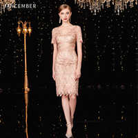 JANCEMBER коктельное платье courte Scalloped Gerade Kurzarm Knie-Länge Cut-Out Blumen cocktail kleider abend party