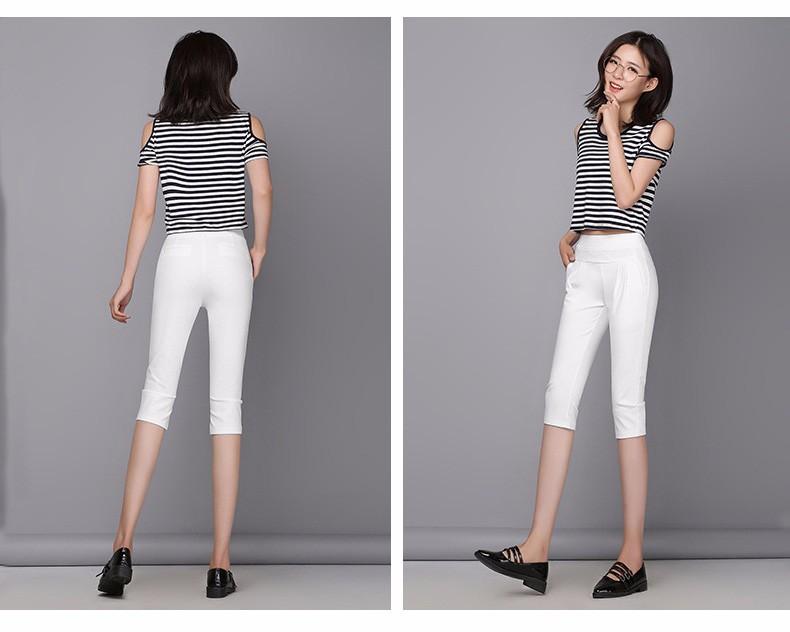 Plus Size S-4XL Harem Pants Women Solid Elastic Calf Length Summer Pants Casual High Waist Sport Pants Capris Trousers 2016 A313 b