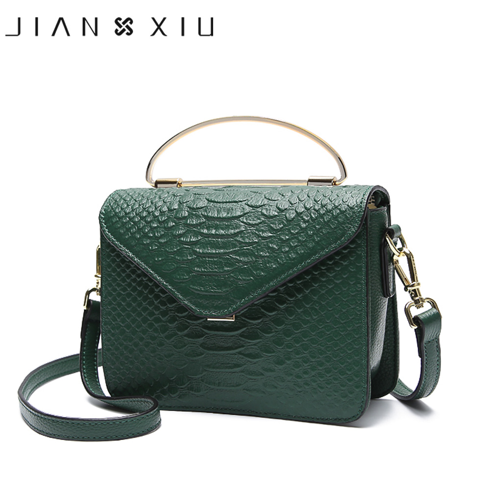 JIANXIU Genuine Leather Handbag Metal Portable Design Women Shoulder Crossbody Bags New Fashion Crocodile Pattern Small Tote Bag stylish women s tote bag with clip closure and crocodile print design