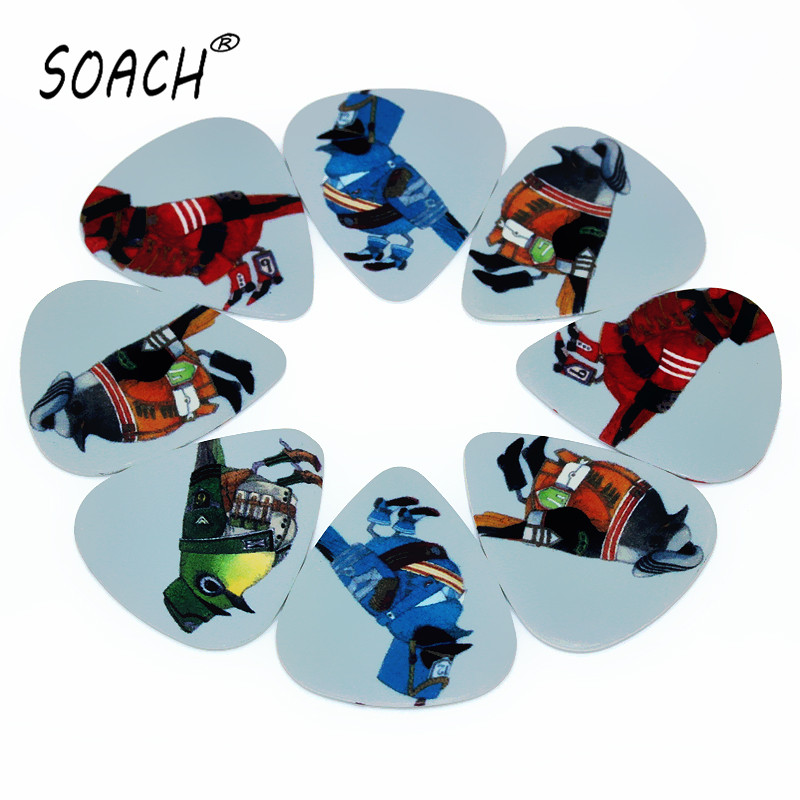 SOACH 10pcs 0.46mm Acoustic Guitar Paddle PVC Double-sided Printing Bird Fireman  Mixed Pattern For Playing Guitar Parts