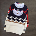 Autumn Winter Base T-Shirt High Quality Sweater Turn Down Collar Wool and Cashmere Sweater Children's Plaid Baby Boy's Sweater