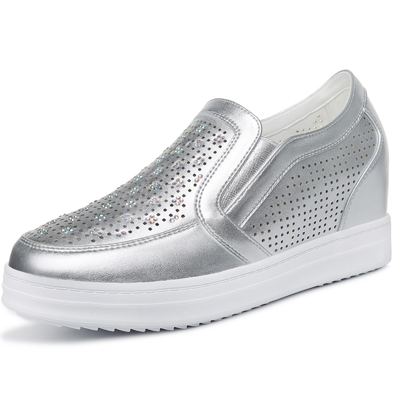 ФОТО Women's White Breathable High Height Increased Flat Wedge Platform Crystal Decorate Walk Travel Lady Girl Flats Shoes