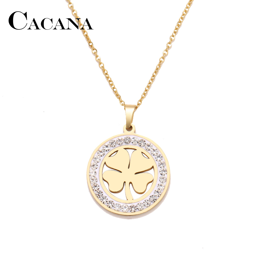 Cacana Stainless Steel Crystal Round Pendants Necklace Women Choker Jewelry Clover Trendy Necklaces Chain Valentine's Day