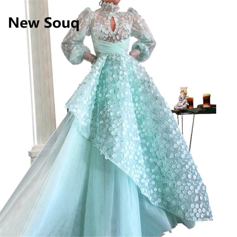 Light Blue Long   Prom     Dresses   2019 3D Applique High Neck Long Sleeves Evening   Dress   Sexy Illusion Sweet 16   Dresses