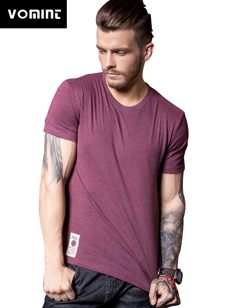 VOMINT New Mens Cotton Solid T-Shirt Mens Short Sleeve T-shirt Multi Pure Color Fancy Yarns T Shirt color wine brown white lblue