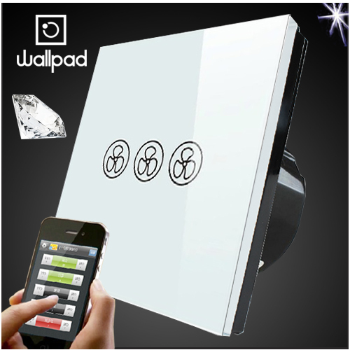 Wallpad 86 EU UK Standard Wifi Fan Speed Switch, White Crystal Glass Wireless Remote control wall Fan touch switch,Free Shipping eu 1 gang wallpad wireless remote control wall touch light switch crystal glass white waterproof wifi light switch free shipping