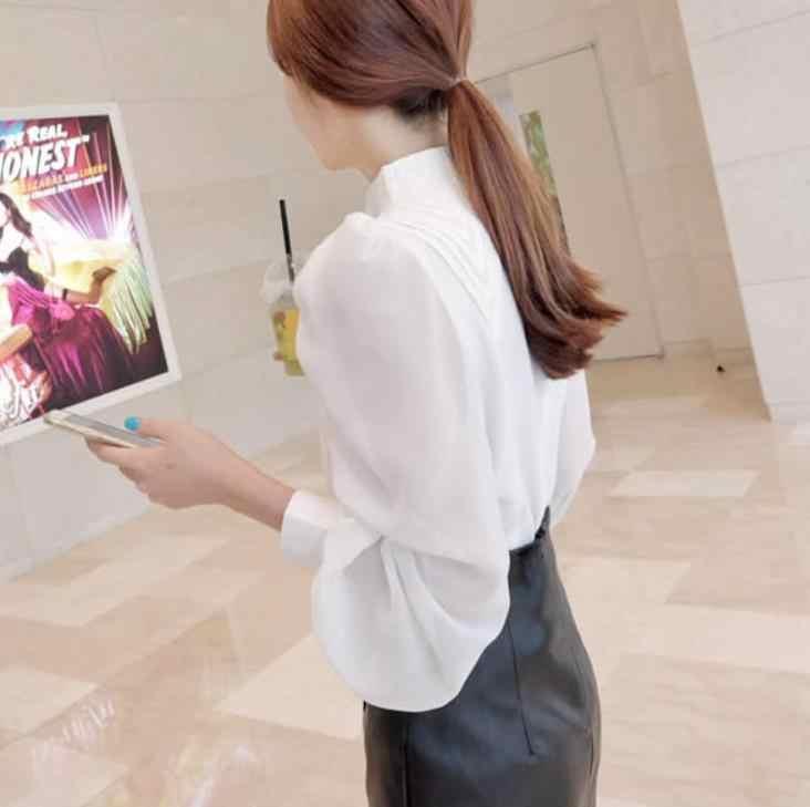 חדש 2020 אביב סתיו נשים פאף שרוול צווארון עומד שיפון חולצות משרד גבירותיי חולצות חולצה בתוספת גודל 2XL!