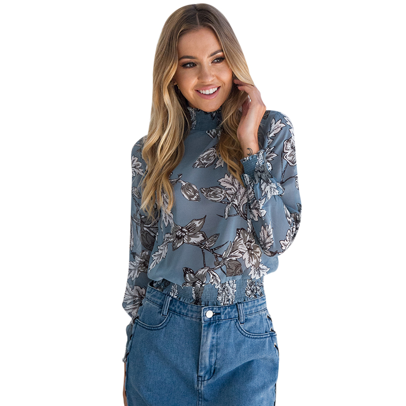 3415d871714 2018 г. элегантные летние цветочные Шифоновая блузка Ffor Для женщин стоять  воротник Blusas офисная рубашка