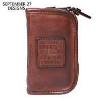 Men Key chain Genuine Leather Handmade Retro Multifunctional Car Key Case Cowhide Vintage Women Housekeeper Holder Keychain