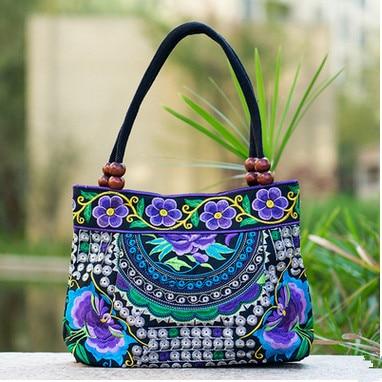 Double-couche Femmes sacs à main! Floral Brodé Dame Haut-poignée sacs Top National sac à main brodé broderie Lady porteur