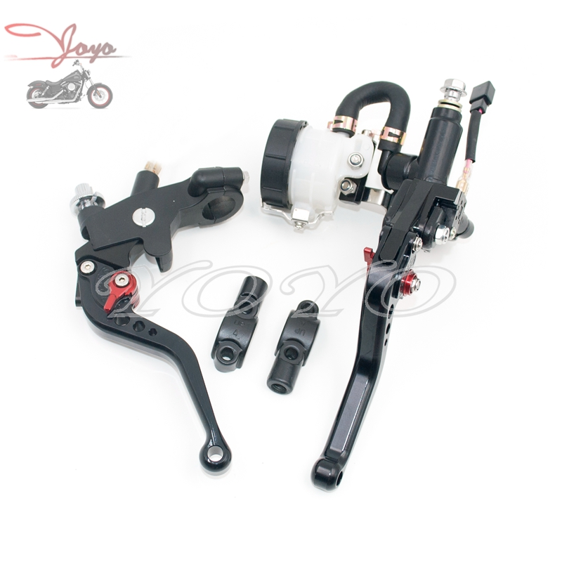 """Motorcycle 7/8"""" 22mm CNC Clutch Lever With Lens Holder Brake Pump Master Cylinder For Kawasaki ZX6R 9R 10R NINJA 400R ZZR Z800"""