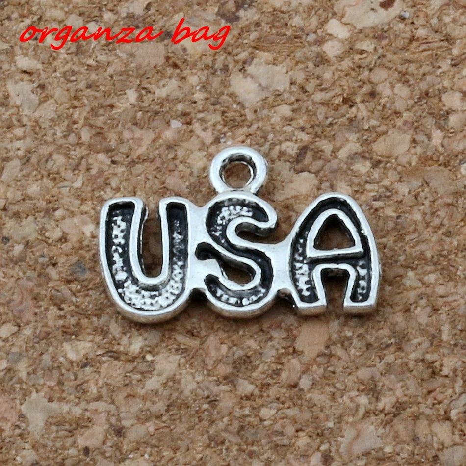 Hot ! 10 pcs Antique Silver Zinc Alloy Single-side USA Charm Pendant 16X11mm DIY Jewelry  cv14