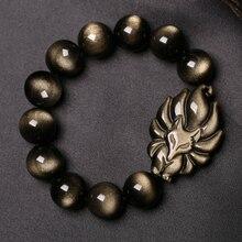 Natural Stone Gold Obsidian Strand Fox beads Bracelet&Bangle Jewelry 8-16mm Nine-Taile Round Beaded Bracelets For Women/Men