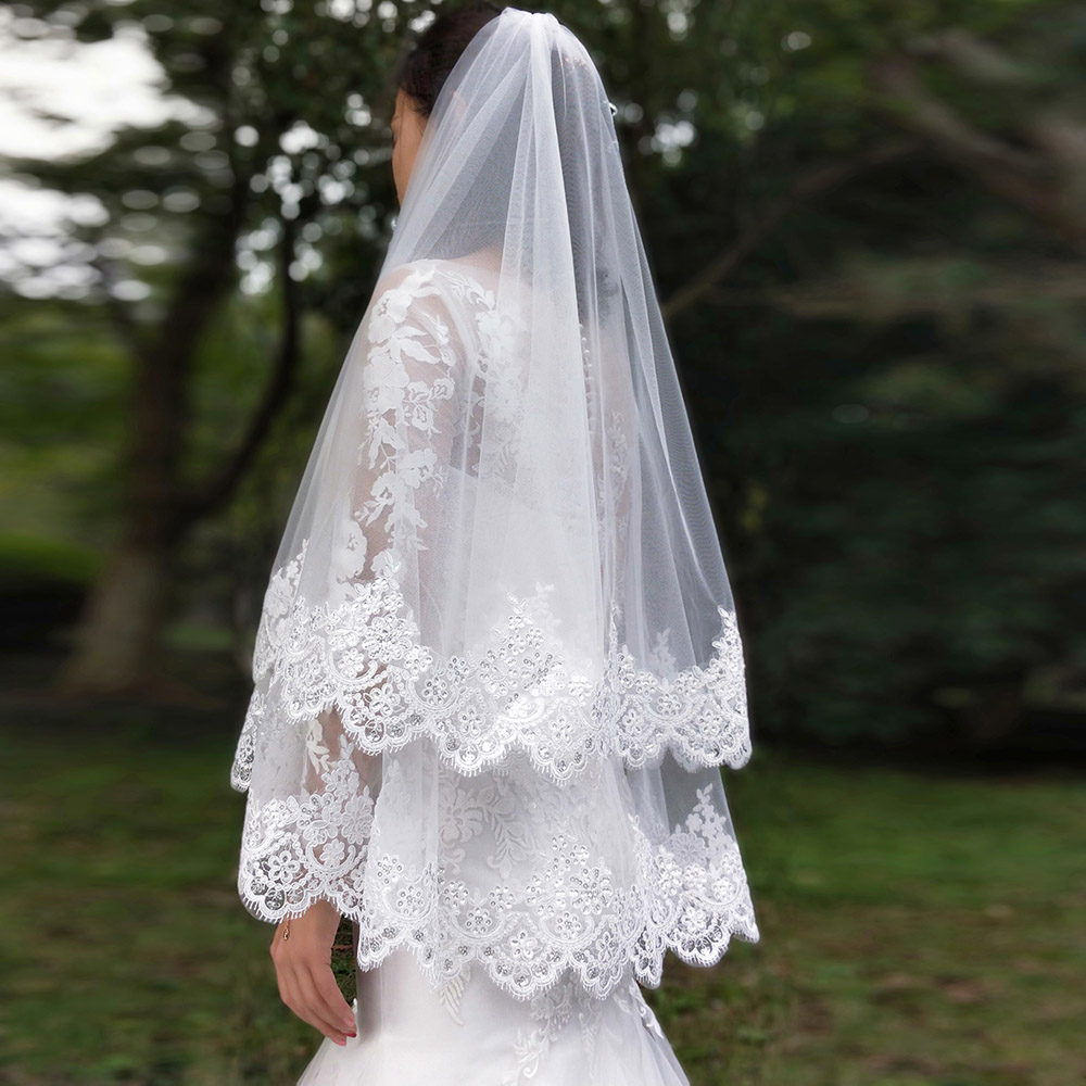 Image 5 - New Arrival 2 Layers Sequins Lace Edge Short Woodland Wedding Veils with Comb 2 T White Ivory Tulle Bridal Veils 2019-in Bridal Veils from Weddings & Events