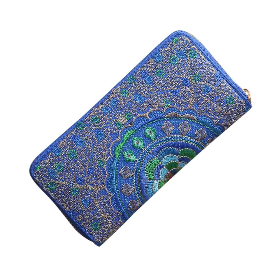 Fashion Women Oxford Embroidery Road Wallet Coin Bag Purse Phone Bag Lady Long Purse Wholesale Drop Shipping #Y 4