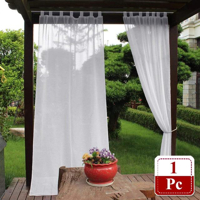 Sheer Outdoor Curtain   Elegant Tab Top Waterproof Semitransparent Voile  Faux Linen Drapery For Patio With