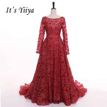 It's YiiYa Red Long Sleeves Floor Length Evening Dress
